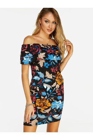 YOINS Random Floral Print Tiered Design Off The Shoulder Dress