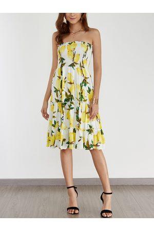 YOINS Random Floral Print Sexy Strapless Midi Dress