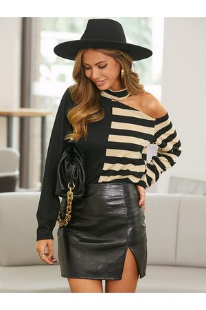 YOINS Black Striped Patchwork Cut Out Long Sleeves Tee