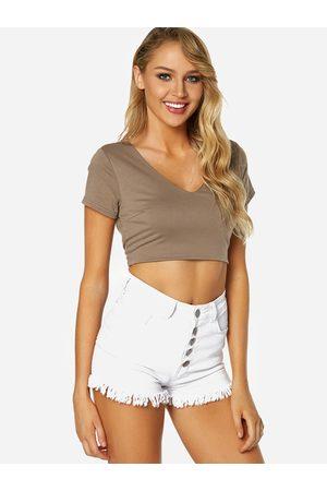 YOINS Lace-up Design V-neck Short Sleeves Backless Crop Top