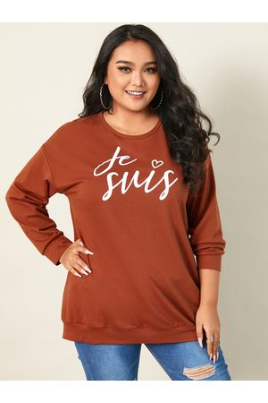 YOINS Plus Size Crew Neck Letter Long Sleeves Sweatshirt