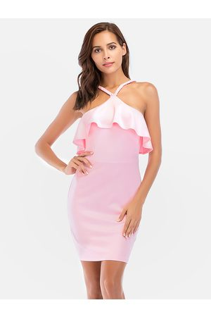 YOINS Halter Fold Over Detail Party Dress