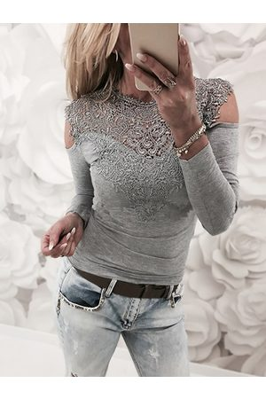 YOINS Lace Insert Cold Shoulder Long Sleeves Causal T-shirt