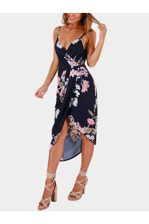 YOINS Crossed Front Design Floral Print Wrap Dress With Asymmetrical Hem