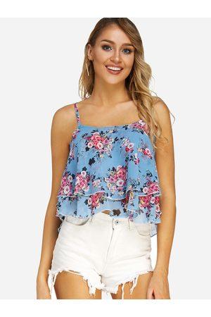 YOINS Lace-up Design Random Floral Print Sleeveless Cami Top