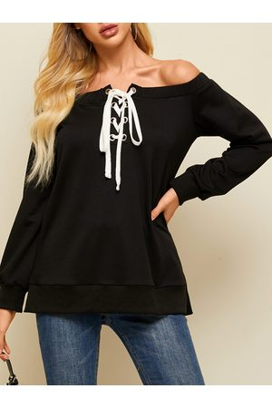 YOINS Lace-up Design Off The Shoulder Long Sleeves Sweatshirt