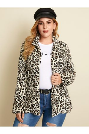 YOINS Plus Size Lapel Collar Leopard Zip Front Long Sleeves Coat