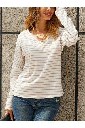 YOINS Women Long Sleeve - Striped V-neck Long Sleeves Tee