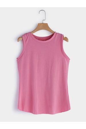 YOINS Women Camisoles - Slit Back Design Round Neck Casual Camis