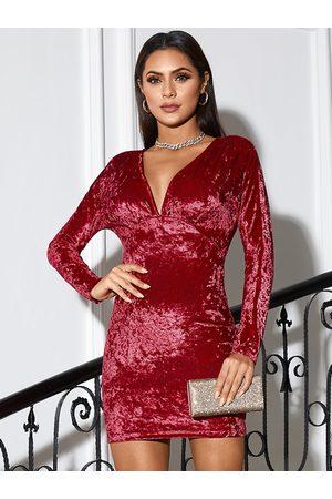 Yoins Velvet Deep V-neck Mini Dress