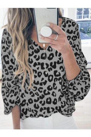 YOINS Leopard V-neck Long Sleeves Tee