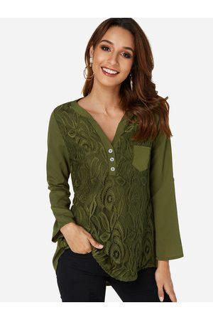 YOINS Lace Insert V-neck Long Sleeves Shirt