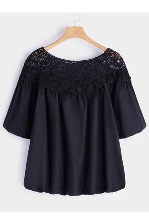 YOINS Plus Size Crochet Lace Trim Hollow Out Blouse