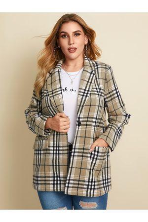 YOINS Plus Size Plaid Button Design Side Pockets Long Sleeves Coat