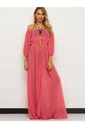 YOINS Watermelon Off Shoulder Long Sleeves Lace-up Design Maxi Beach Dress