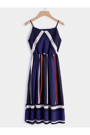 YOINS Color Block V-neck Sleeveless Spaghetti Beach Dress in