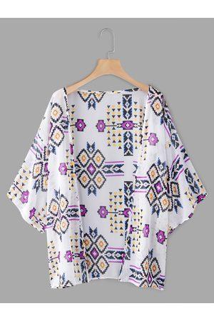 YOINS Geometrical Open Fron Half Sleeves Kimono