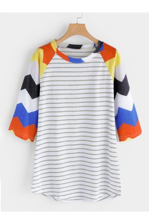 YOINS Multi Stripe Round Neck T-shirts