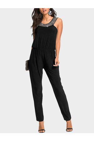 YOINS Sequins Embellished Plain Pleated Stretch Waistband Jumpsuit