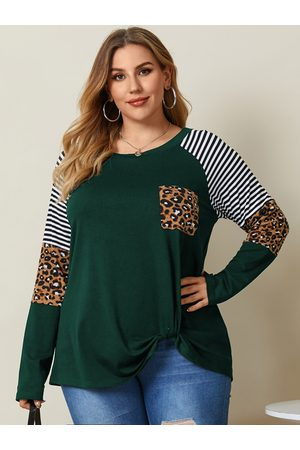 YOINS Plus Size Crew Neck Striped Patchwork Long Sleeves Tee