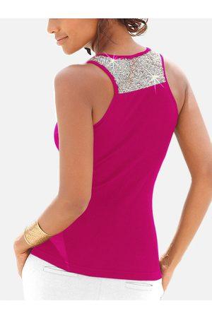 YOINS Rose Sequins Embellished Scoop Neck Tank Top