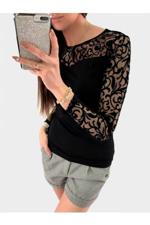 YOINS Crochet Lace Embellished Round Neck Long Sleeves Tee