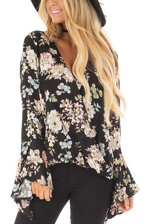 YOINS Random Floral Print Crossed Front V-neck Long Bell Sleeves Blouse