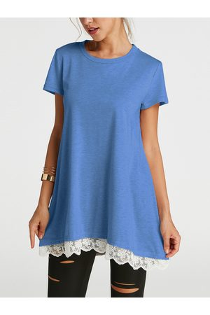 YOINS Lace Hem A Line Round Neck Short Sleeves T-shirts
