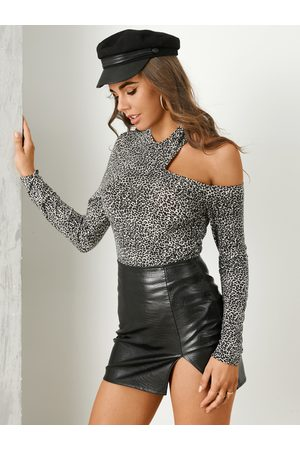 YOINS Leopard Cut Out Long Sleeves Tee