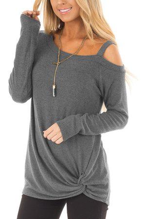YOINS Women Long Sleeve - Pale Crossed Front Design Plain One Shoulder Long Sleeves T-shirts