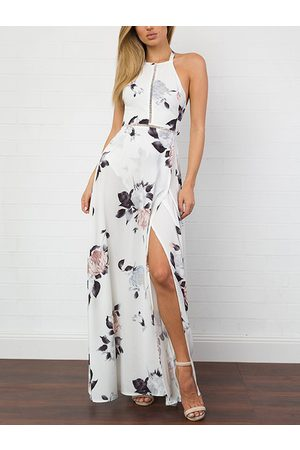 YOINS Halter Neck Open Back Random Floral Print Maxi Dress in