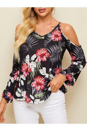 Yoins Black Random Floral Print Cold Shoulder Long Sleeves Blouse