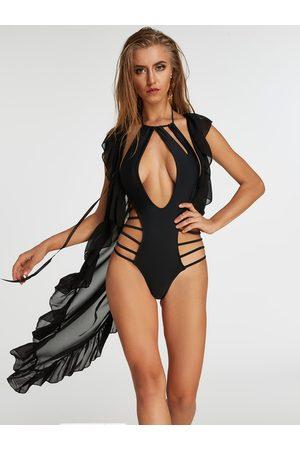 YOINS Sleeveless Tie-up Design Semi Sheer Ruffle Cover Up