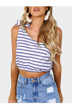YOINS Women Tank Tops - Self-tie Design Stripe One Shoulder Sleeveless Crop Top
