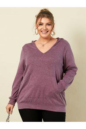 YOINS Plus Size Pullover Hooded Design Long Sleeves Sweatshirt
