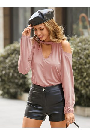 YOINS Pink Cut Out Cold Shoulder Long Sleeves Tee