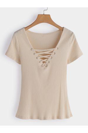 YOINS V-neck Short Sleeves T-shirts