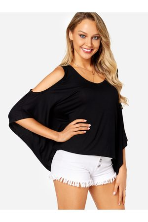 Yoins Bat Sleeves Cold Shoulder Fashion Blouse