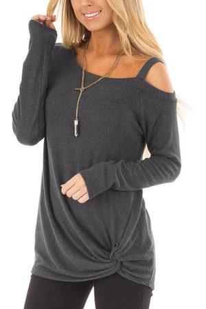 YOINS Women Long Sleeve - Dark Crossed Front Design Plain One Shoulder Long Sleeves T-shirts