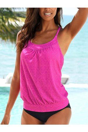 YOINS Rose Round Neck Cross Back Two Piece Tankini Swimsuit