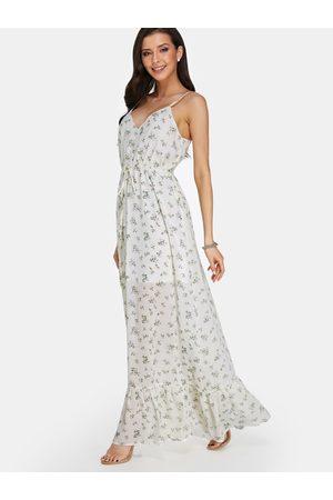 YOINS V Neck Floral Print Fashion Long Dress