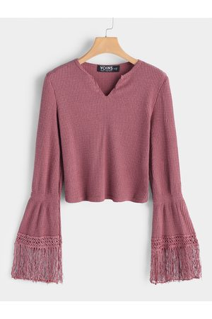 YOINS Tassel Sleeves Cropped Fashion Knitted Sweater