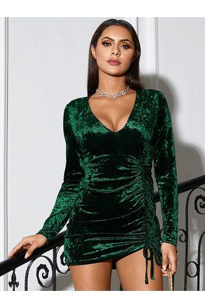 Yoins V-neck Velvet Ruched Mini Dress