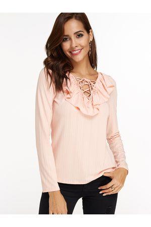 YOINS Stripe Flounced Details Lace Up Design Deep V-neck Long Sleeves T-shirt
