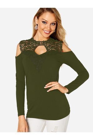 YOINS Women Long Sleeve - Cut Out Lace Insert Cold Shoulder Long Sleeves Top