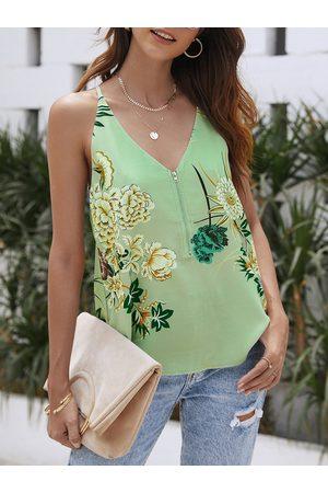 YOINS Zipper Design Random Floral Print V-neck Cami