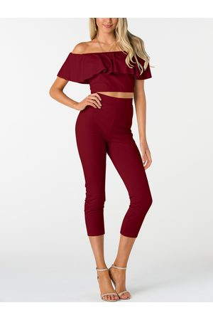 YOINS Off-The-Shoulder Ruffle Design Two Piece Outfits