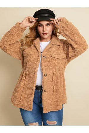 YOINS Plus Size Button Design Drawstring Long Sleeves Coat