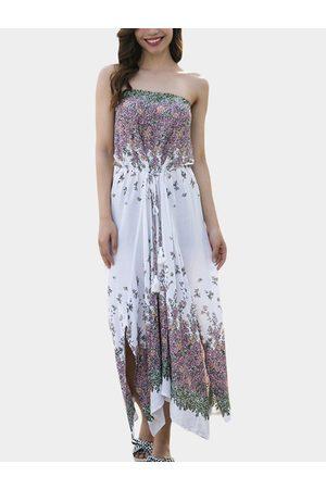 YOINS Random Calico Strapless Drawstring Waist Slit Hem Dress