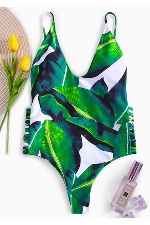 YOINS Green Leaf Spaghetti Scoop Neck Cut-out Design Monokini